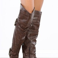 Vickie-16h Brown Buckle Thigh Riding Boots | MakeMeChic.com