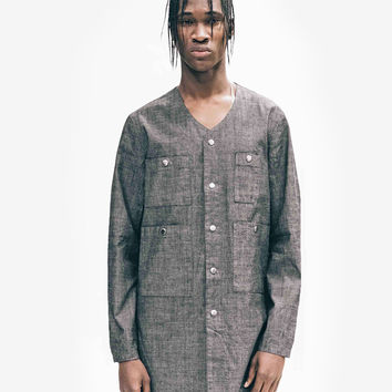 Elongated Pocket Heathered Baseball Shirt in Charcoal