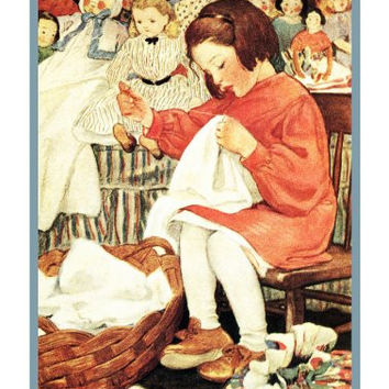 Busy Bee Girl Sewing Doll Clothes By Jessie Willcox Smith Counted Cross Stitch or Counted Needlepoint Pattern