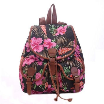 Women's Canvas Black Floral Backpack School Daypack Travel Bag