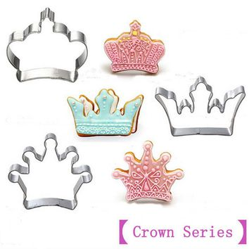 3pcs [Crown Series]Stainless Steel Cookies Mold Cutter 3D Biscuit Press Fondant Moldes Galletas Chocolate Mooulds CT421