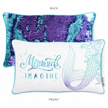 IMAGINE Mermaid Pillow w/ Aqua & Purple Reversible Sequins