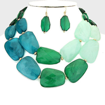 Statement Bead Necklace Mint