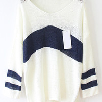 Color Block V Neck Striped Long Sleeve Sweater