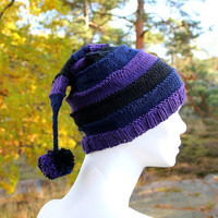 Handknit pointy hat with pompom in witch colours, supersoft merino wool and cotton blend yarn, slouchy beanie, holoday gift for him or her