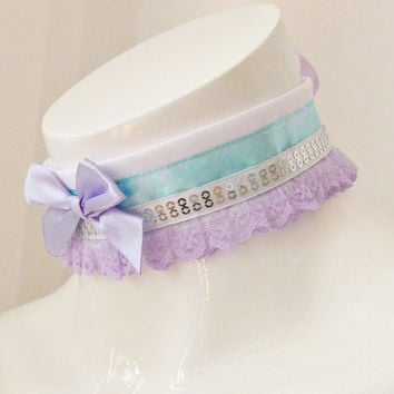 Kitten play collar - Spring orris - ddlg princess fairy kei kawaii cute neko lolita pet - lavender lilac blue and white