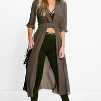 Shirley Plunge Neck Split Maxi Shirt | Boohoo