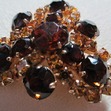 Brown and Citrine Colored Rhinestone Glass Pin Prong Set Designer Vintage