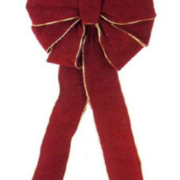 Red Velveteen Christmas Bow - 10-loop Bow