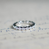 Cubic Zirconia Eternity Band - Sterling Silver Stacked Ring  - Full Eternity Ring - Wedding Band - Vintage Ring - Art Deco -  Bezel Set