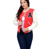 Red & White Varsity Baseball Jacket