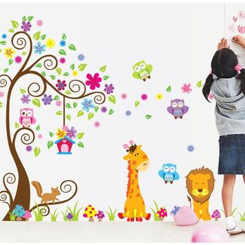 Cute Cartoon Animals Tree Bridge Baby Children Bedroom Room Decor Wall Stickers Removable Kids Nursery Wall Decal  Df5210ab