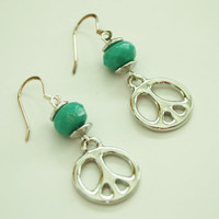 Teal Bead and Silver Peace Sign Earrings / French Wire / Handmade Beaded Earrings / Fashion Jewelry