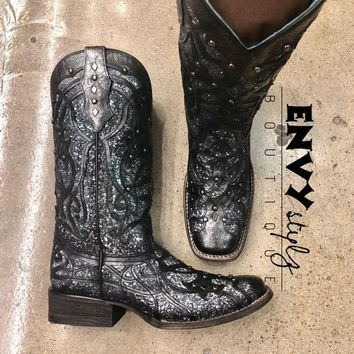 Corral Women's Black Glitter Inlay Boot