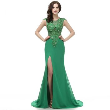 High Slit Green Scoop Neck Appliques Long Prom Dresses Cap Sleeves Floor Length Satin Mermaid Beading Prom Dress