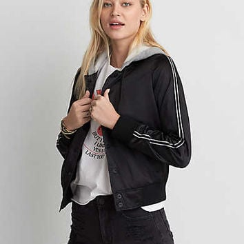 AEO Bomber Fleece Hoodie Jacket, True Black