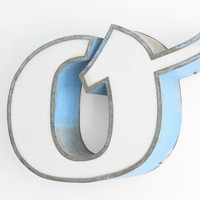 """Large Industrial Metal Letter """"o"""" or """"q"""" / Reclaimed Socialist Signage Advertising / Salvaged Volumetric Letter / Romania - 60s"""