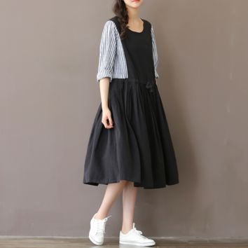 RETRO LEATHER STRIPES STITCHING LONG SECTION DRESSES LINEN LONG SLEEVES