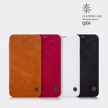 "for iPhone X case flip cover 5.8"" Nillkin QIN series PU leather case for iPhone X with Credit card slot"