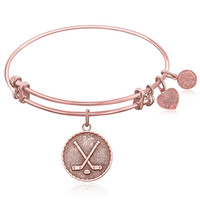 Expandable Bangle in Pink Tone Brass with Hockey Symbol