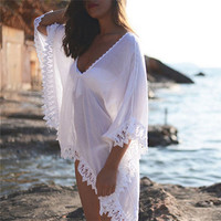 New Chiffon White Beach Wear Swimwear Women Bikini Lace Sunscreen Cover Ups swimming suits Kaftan dropshipping free shipping