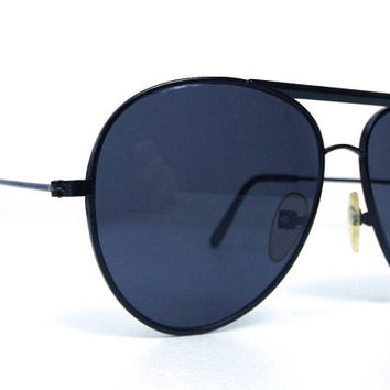 vintage 80's deadstock aviator sunglasses black metal frame dark lenses sun glasses eyewear oversized men women retro teardrop simple 138