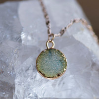 DRUZY CHARM CHOKER - (Seafoam) - Gemstone Jewelry Trendy Crystal Necklace Boho Chic Modern Gypsy Style Druzie Gifts for Teens Gifts for Her