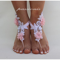 Wedding Shoes,White Lace and Pink Flower Processing,Beach Wedding,Bridal Anklet,Bridal Shoes,Bridessmaid
