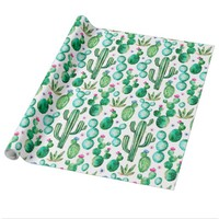 Cute Watercolor Cactus Wrapping Paper