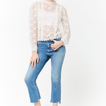 Sheer Mesh Embroidered Lace Top