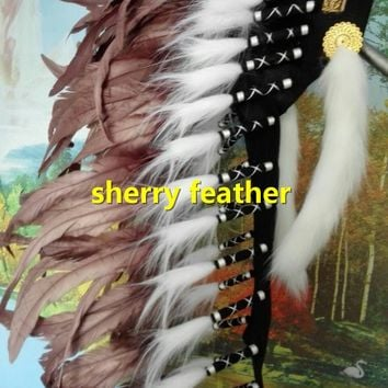 28inch brown Indian Feather headdress chief indian warbonnet dancewear costume supply feather hat