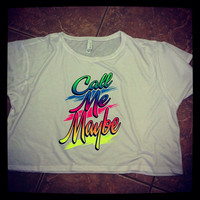 Call Me Maybe Flowy Boxy Cropped Neon Crewneck Oversized T shirt S-XL