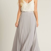 Petite Simone Grey Pleated Maxi Skirt