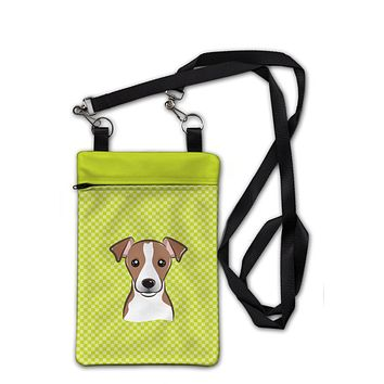Checkerboard Lime Green Jack Russell Terrier Crossbody Bag Purse BB1322OBDY