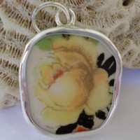 Yellow Rose Broken China Pendant Yellow Flower Necklace   Yellow Broken China  Chaney