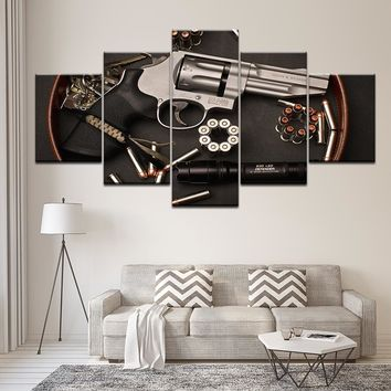 Smith and Wesson Hand Gun 2nd Amendment Five Piece Framed Canvas Wall Art