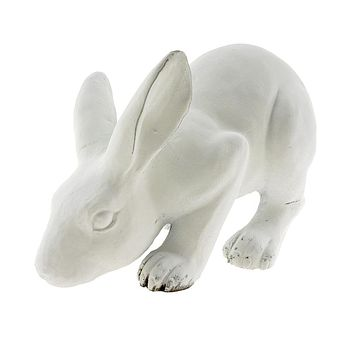 Outdoor Bowing Bunny Figurine, White, 11-Inch