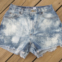 High Waisted Acid Wash Shorts Size 8 by DenimAndStuds on Etsy