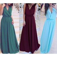 Women Summer Long Maxi BOHO Evening Party Dress Beach Dresses Sundress US STOCK