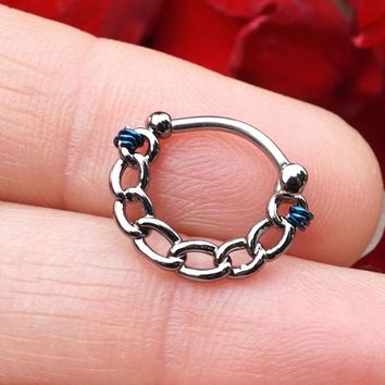 Hematite Linked Chain Clicker Daith Hoop Ring Rook Hoop Cartilage Helix