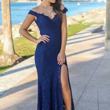 Navy Lace Off Shoulder Maxi Dress