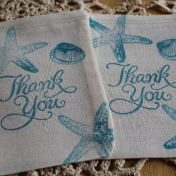 Set of 10 Hand stamped Seashell Thank You Ocean Beach Theme Wedding Birthday Bag Muslin Party Favor Bags Eco Friendly 100% organic