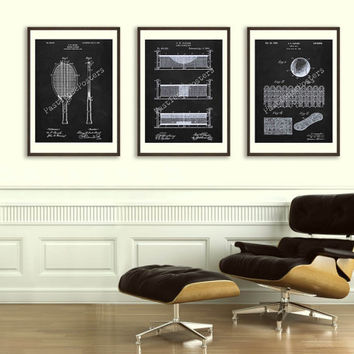 Trio of Tennis Patent Posters - Original Patents - Vintage Print - Patent Print - Patent Poster - Vintage Wall Art