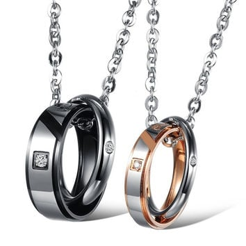 Titanium steel couple necklace(s/GOLD for women, L/black for Men)