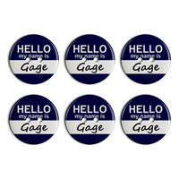 Gage Hello My Name Is Plastic Resin Button Set of 6