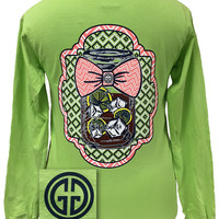 Girlie Girl Originals Mason Jar Chevron Bow Comfort Colors Kiwi Bright Long Sleeves T Shirt