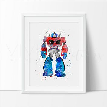 Optimus Prime, Transformers Watercolor Art Print