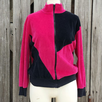 Vintage Women's Velour Cardigan Sweater - 1980s - Fuchsia Pink Cranberry and Black Color Block SZ M