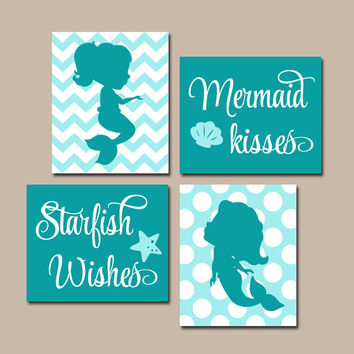 MERMAID Wall Art, Canvas or Prints, Sister BATHROOM, Shared Sisters Bedroom Decor, Mermaid Kisses Starfish Wishes Quote, Set of 4 Pictures
