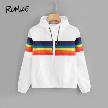 ROMWE White Striped Drawstring Zip Up Jacket Women Casual Hooded 2018 Autumn New Style Clothing Coats Female Spring Outerwear